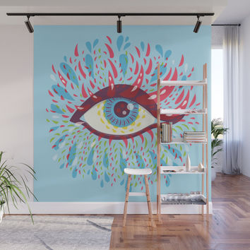 Weird Blue Psychedelic Eye Wall Mural by borianagiormova