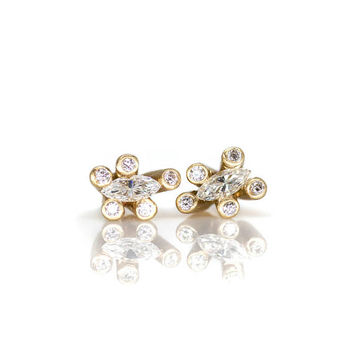 Solid 14 Karat Gold Sticks and Stones Diamond Studs
