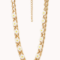 FOREVER 21 Garden Daisy Curb Chain Choker White/Gold One