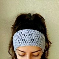 Simple Crochet Ear Warmer Headband, Handmade Crocheted Ear Warmer, Thick Ear Warmer Head Wrap, Gray Crochet Headband, Winter Accessory