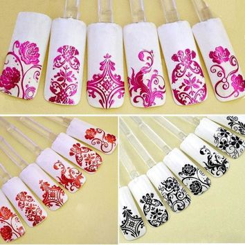 Top Nail 108 Design Gold Foil Flowers Stickers For Nails 6 Color Metal Bronzing Decal 3d Nail Art Sticker Tips Decorations Jh125