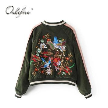 Trendy Ordifree 2017 Luxury Women Bomber Jacket Floral Embroidery Baseball Jacket Coat Outwear Birds Embroidered Basic Jackets AT_94_13