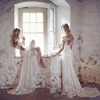 2017 Cheap Boho Beach Wedding Dress Summer Sexy Lace Bow Cap Sleeve Backless 2016 Bohemia Vestido De Noiva Custom Bridal Gowns