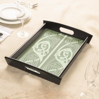 Celtic Knotwork Fish in Green Serving Tray