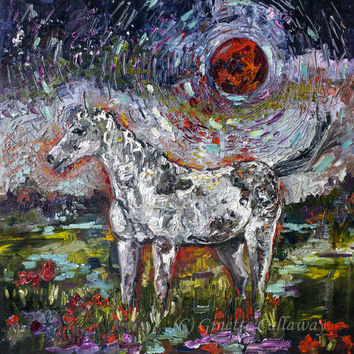 Appaloosa Spirit Horse Under A Crimson Moon