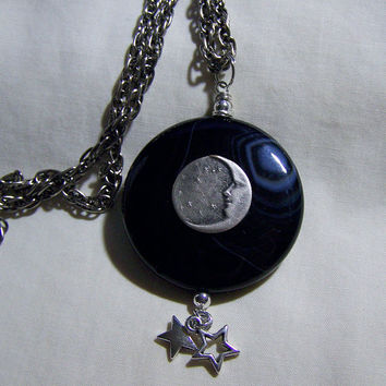 Black Onyx Scrying Glass with Silver Moon and Stars Pendant