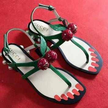 Gucci Strawberry Sandal  Casual Fashion Women Slipper Shoes