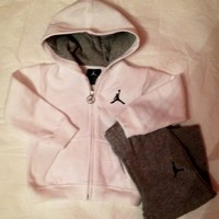 Nike Jordan Fleece Hoodie & Active Sweatpants Set White/Gray Baby Boys 18M