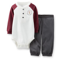 2-Piece Henley Bodysuit & Pant Set