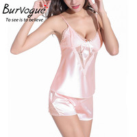 Burvogue Lace Sleepwear Set Lace Baby Dolls Nightwear Pajamas Set Silk Lingerie Sexy Two Piece Gowns Lace Robes Nightgown Set