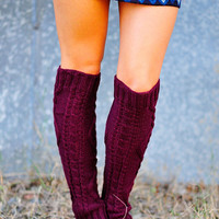 Nice And Cozy Leg Warmers: Burgundy | Hope's