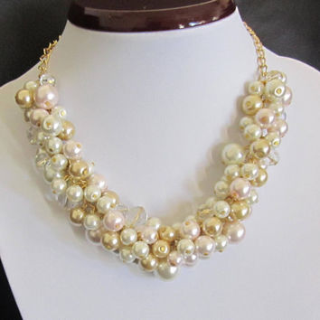 Pearl Statement Necklace in Off-White with Gold Finish, Pearl Bib Necklace, Pearl Bubble Necklace in Ivory Gold Blush Chunky Pearl Necklace