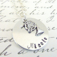 French Horn necklace Music Necklace Music teacher Personalized Hand stamped jewelry