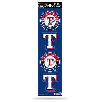 Texas Rangers Decal Car Sticker The Quad 4 Pack Sticker Set QAD