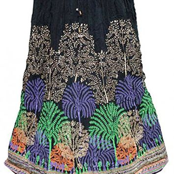 Women's Skirt GothicBlack Peacock Printed Crinkled A-Line Rayon Skirts M