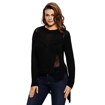 Black Sheer Knit Tangled Long Tail Sweater