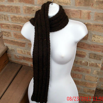 Hand Knit Scarf - Ribbed Scarf in Walnut Wool Blend - Womens Scarf - Mens Scarf