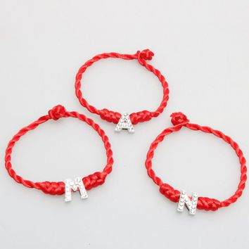 1PC Hot A-Z 26 Letters Red Thread String Letters Bracelets Red Rope Charm Women Lucky Bracelet Aolly Jewelry Gift For Couple