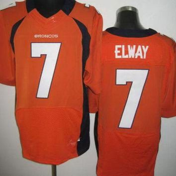 ICIKU3N Nike Broncos #7 John Elway Orange Team Color Mens NFL Elite Jersey