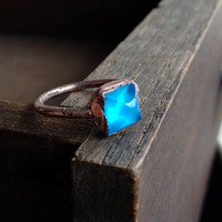 Light Blue Square Vintage Glass Cabochon Ring - Size 5.25