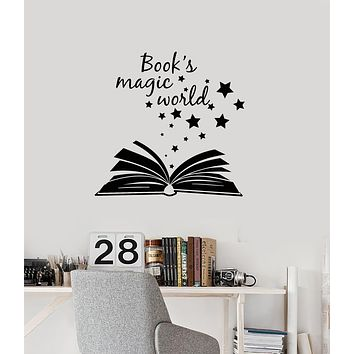 Vinyl Wall Decal Open Magical Book Quote Reading Room Library Stickers Mural (ig6151)