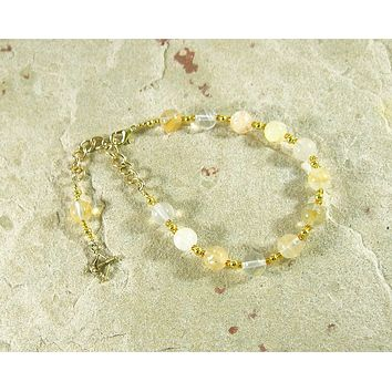 Apollo Prayer Bead Bracelet in Citrine: Greek God of Music and the Arts, Health and Healing