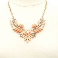 Ombre Gem Statement Bib Necklace by Charlotte Russe - Gold