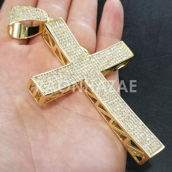 New Iced Out Lab diamond Micro Pave JUMBO Jesus Cross Pendant.