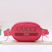 Gucci Women Fashion Leather Chain Waist Pack Satchel Shoulder Bag Crossbody-10
