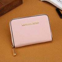 Michael Kors Women Fashion Leather Zipper Mini Wallet Purse