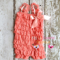 New Coral Vintage Lace Petti Romper - Infant outfit- Toddler outfit- birthday outfit - Newborn outfit- photo prop