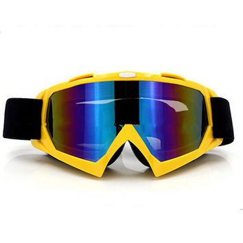 Adult Colourful double Lens Snow Ski Snowboard Goggles Motocross Anti-Fog Fashion Eye Protection Yellow Colourful