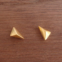 Stud Earrings Tiny 24k Gold Plated Sterling by thalassajewelry