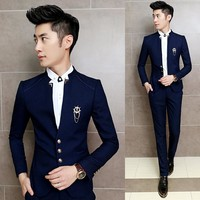 Classic Chinese Collar Costume Wedding Suits