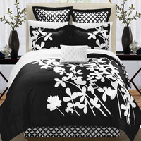 Iris Black & White 11 Piece Embroidery Comforter Bed In A Bag Set