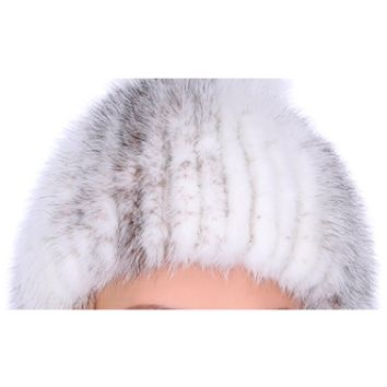 THICK MINK FUR HAT WITH FOX FUR TRIM