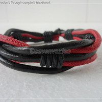 Adjustable Black Leather and Red Hemp Ropes Woven by sevenvsxiao