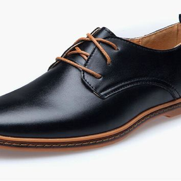 Casual Leather Lace-Up Dress Shoes For Men