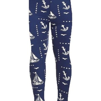 Girls Sailboats Leggings Nautical Anchors Blue/White: S/L