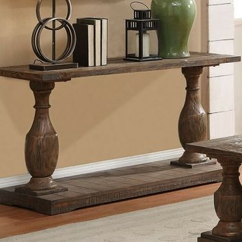 Hanson collection salvaged brown finish wood carved accents sofa table