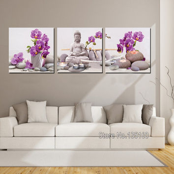 3 Panel Large Decor Wall Art Orchid Flower Buddha Painting Stones Yoga Relax Canvas Prints Decorative Wall Pictures No Frame