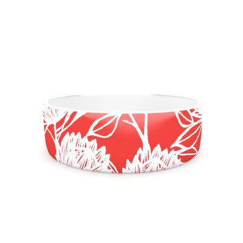 "Gill Eggleston ""Protea Strawberry White"" Red Flowers Pet Bowl"