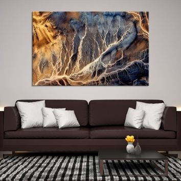 47242 - Large Brown Abstract Wall Art | Ink Painting Art | Refined Wall Art | Large Marble Wall Art | Marble Canvas | Creative Living Room Decor