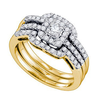 Diamond 0.15ct Center Round Bridal Set in 14k Gold 0.68 ctw