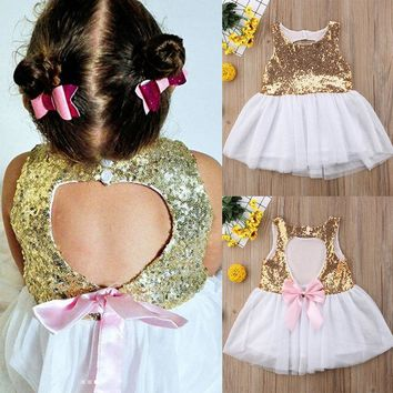 USA Flower Girl Princess Sequins Dress Toddler Baby Wedding Fancy Party Dresses