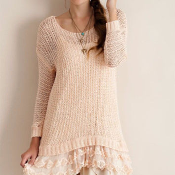 Sweet Miss Charming Lace Hem Open Weave Tunic  - Entro-Peach