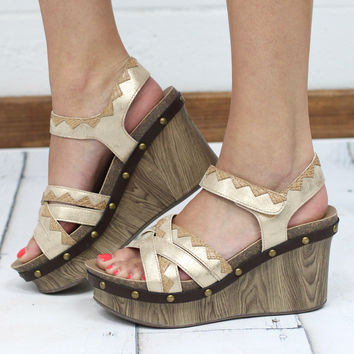 Corky's: Egyptian Metallic Embroidered Wedge {Gold}