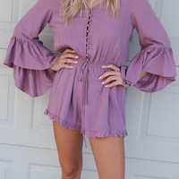 Mountainside Hideaway Dusty Mauve 3/4 Bell Sleeved Button Down Romper