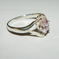Purity promise birthstone ring pink cubic zirconium
