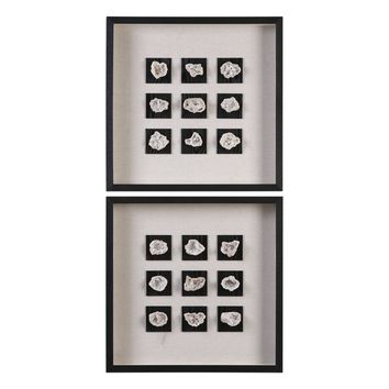 Geode Linen Shadow Box Wall Décor - Set of 2 by Uttermost
